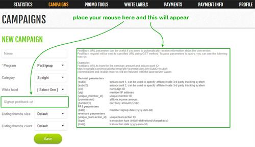 PostBack URLs for Advanced Tracking