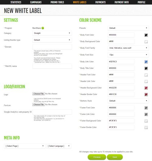 The White Label Generator Offered by BongaCash